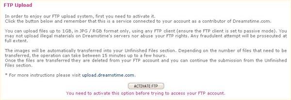 Активирование FTP на Dreamstime.com