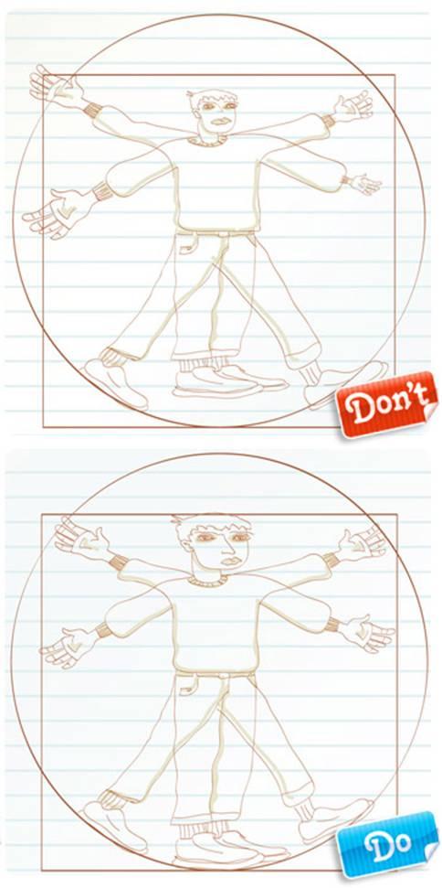 Векторная иллюстрация для фотобанка. Классические пропорции человеческого тела