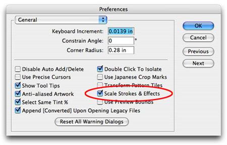 опция Scale Strokes & Effects в настройках была активна