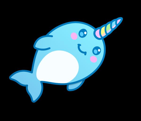 кавайный кит единорог на рисунке